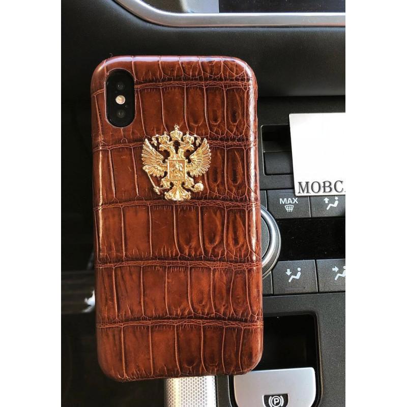 Дорогой, кожаный чехол с позолоченным гербом России, Mobcase 700 для iPhone