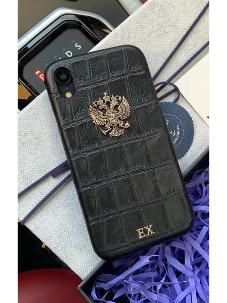 Дорогой, кожаный, именной чехол с бронзовым гербом России, Mobcase 739 для iPhone