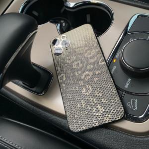 Дорогой телефон обтянутый бежевой кожей Игуана, Mobcase 973
