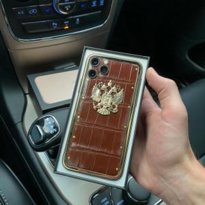 Дорогой телефон с золотым гербом России, Mobcase 969