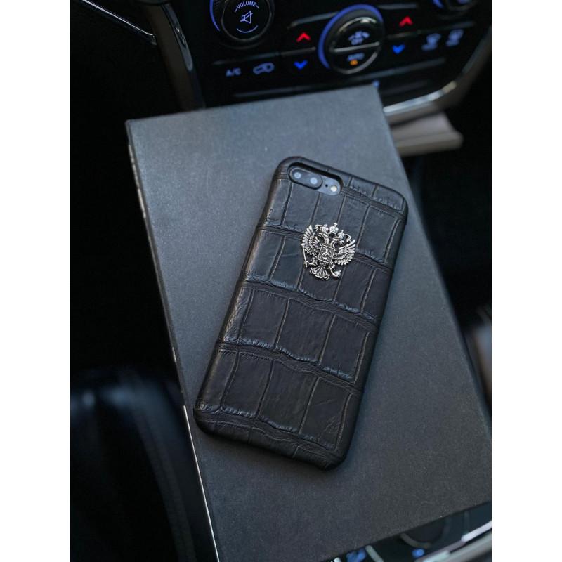 Эксклюзивный чехол из чёрной кожи крокодила с гербом России Mobcase 1337