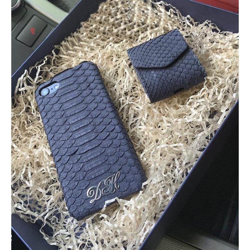 Эксклюзивный чехол из кожи питона с инициалами из серебра, Mobcase 888 для iPhone 8