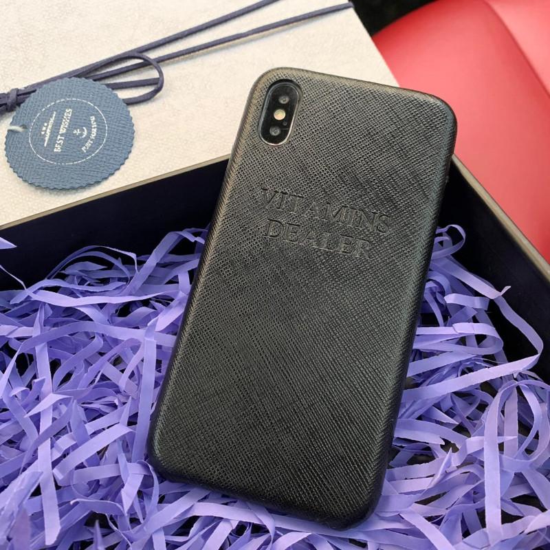 Эксклюзивный чехол, кожаный, чёрный, с надписью Mobcase 672 для iPhone