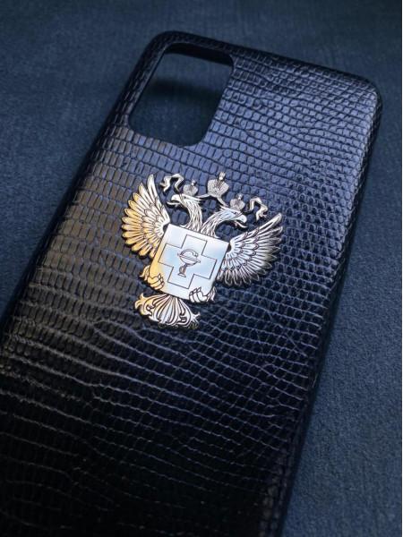 Эксклюзивный чёрный чехол из кожи игуана с гербом здравоохранения России Mobcase 1351