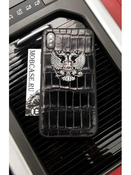 Эксклюзивный, дорогой чехол с гербом России из кожи крокодила Mobcase 653 для iPhone 7/8|7/8Plus|XXS|XSMAX|XR