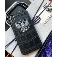 Эксклюзивный, дорогой, чёрный чехол с гербом РФ, Mobcase 606, для iPhone 7/8|7/8Plus|XXS|XSMAX|XR