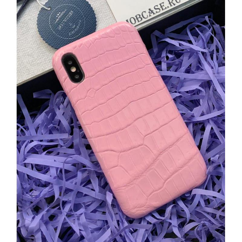 Эксклюзивный, дорогой, розовый чехол из мягкой крокодиловой кожи Mobcase 785 для iPhone