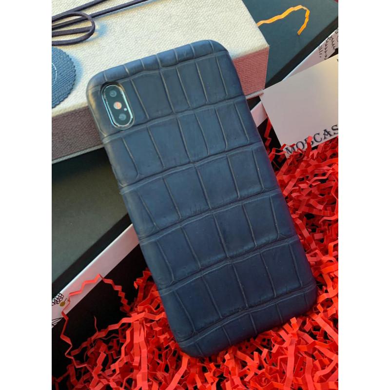 Эксклюзивный, дорогой, тёмно-синий чехол из мягкой кожи крокодила Mobcase 784 для iPhone