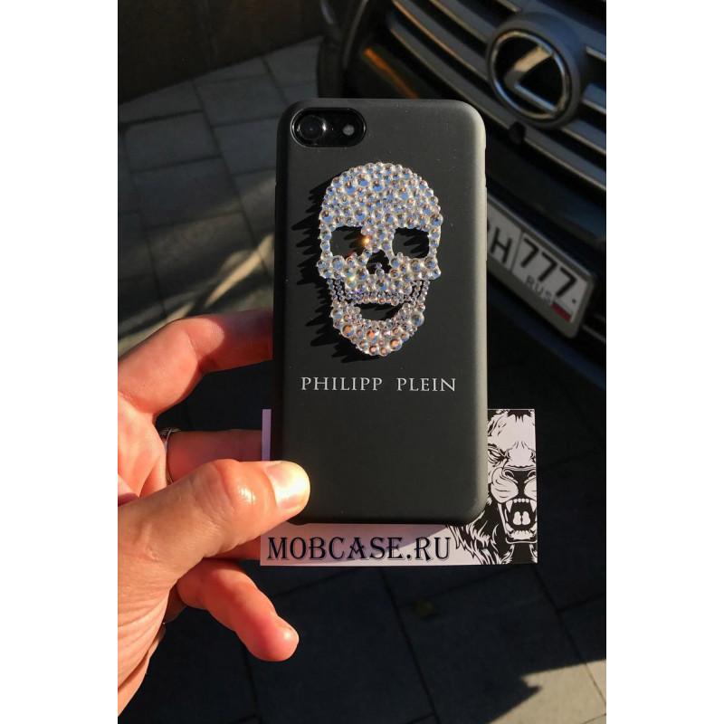 Эксклюзивный, фирменный чехол с черепом из кристаллов Philipp Plein, Mobcase 732 для iPhone