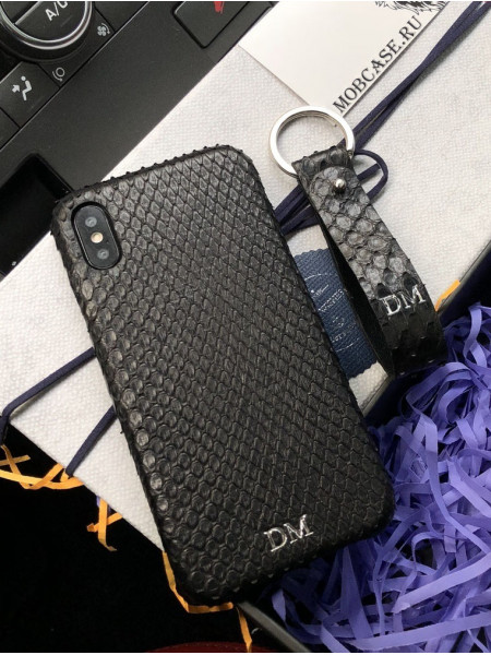 Эксклюзивный, именной чехол, чёрный, кожаный Mobcase 633, для iPhone