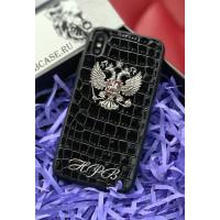 Эксклюзивный, именной чехол из натуральной кожи с гербом России Mobcase 751 для iPhone 7, 8, 7 Plus, 8 Plus, X, XS, XSMAX, XR