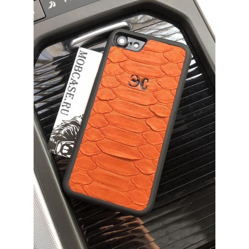 Эксклюзивный, именной чехол, кожаный, оранжевый Mobcase 655 для iPhone
