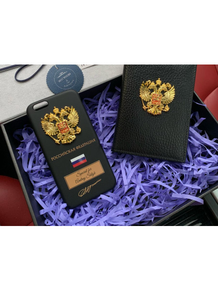 Эксклюзивный, именной чехол с металлическим гербом России Mobcase 677 для iPhone