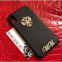 Эксклюзивный, именной, кожаный чехол с золотым гербом России Mobcase 801 для iPhone 7, 8, 7 Plus, 8 Plus, X, XS, XSMAX, XR