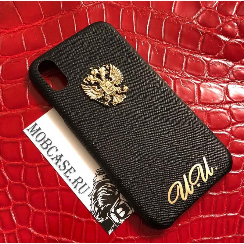Эксклюзивный, именной, кожаный чехол с золотым гербом России Mobcase 801 для iPhone