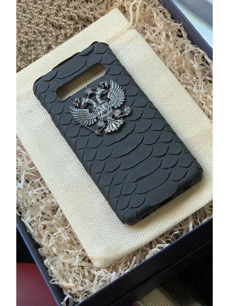 Эксклюзивный кожаный чехол из натуральной, чёрной кожи питона с гербом России, Mobcase 911