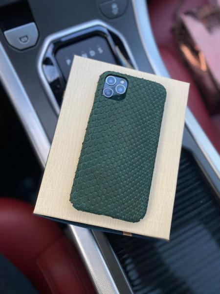 Эксклюзивный кожаный чехол из зелёной кожи питона Mobcase 1253