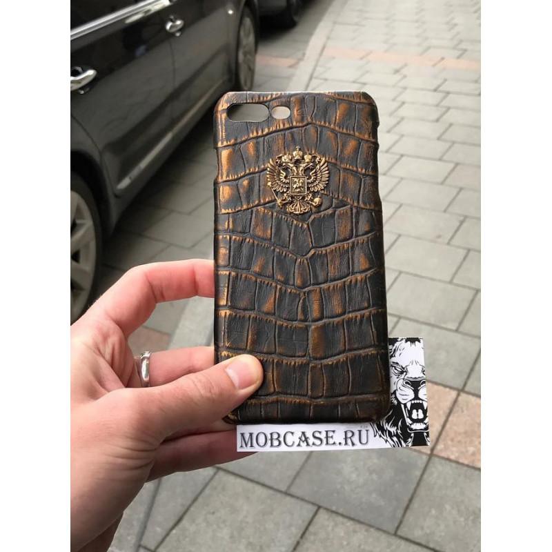 Эксклюзивный кожаный чехол с бронзовым гербом России, Mobcase 726 для iPhone