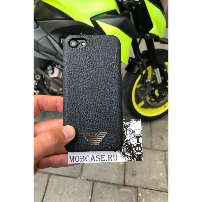 Эксклюзивный, кожаный чехол с логотипом Armani, Mobcase 727 для iPhone