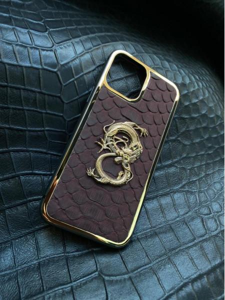 Эксклюзивный кожаный чехол с золотым драконом Mobcase 1397