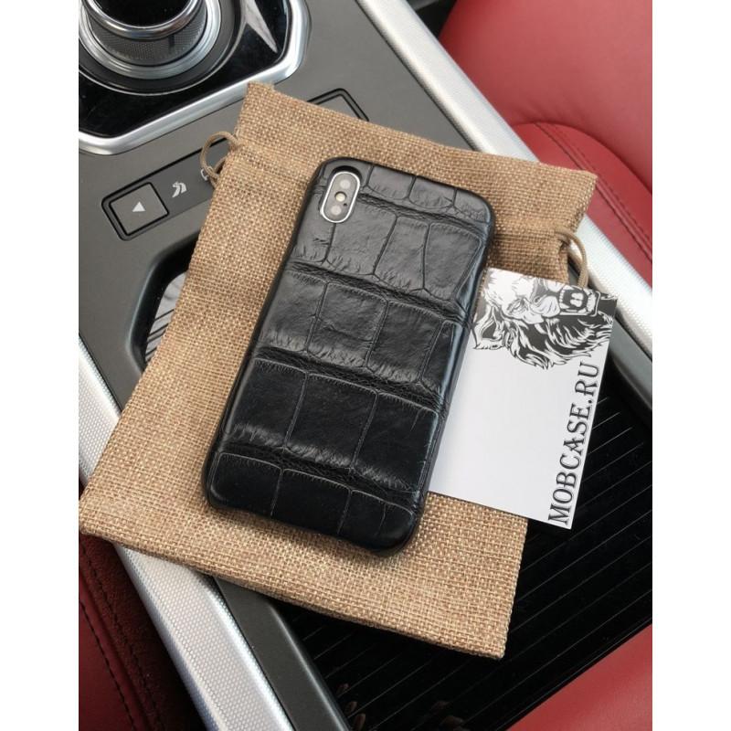 Эксклюзивный, кожаный, чёрный чехол из крокодила Mobcase 660 для iPhone