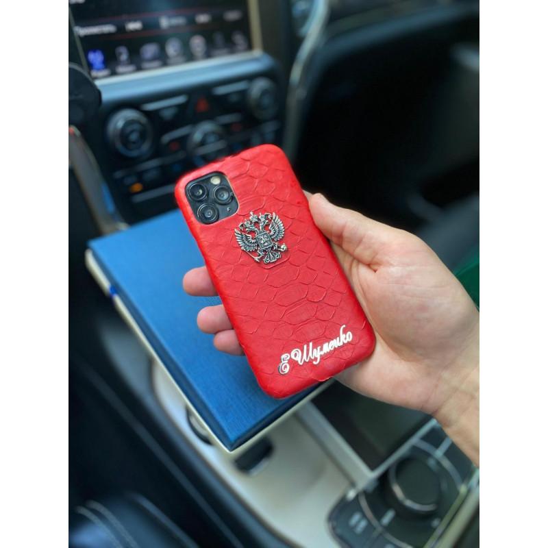 Эксклюзивный, кожаный, красный чехол с гербом России Mobcase 1181