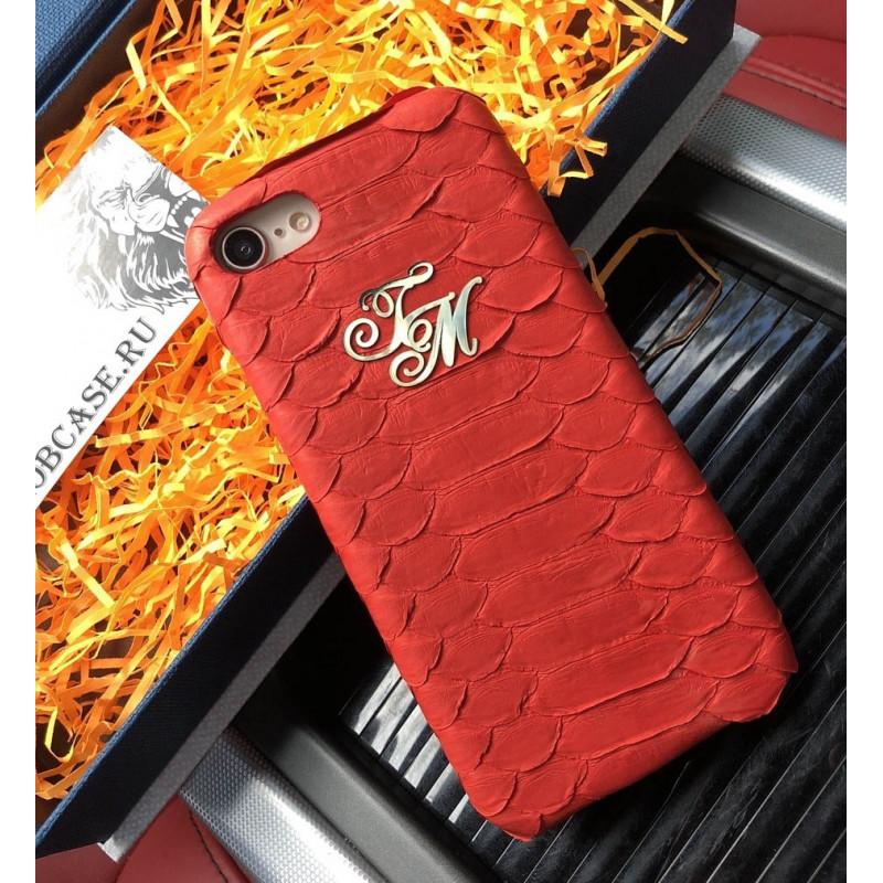 Эксклюзивный, красный, именной чехол из кожи питона Mobcase 627, для iPhone