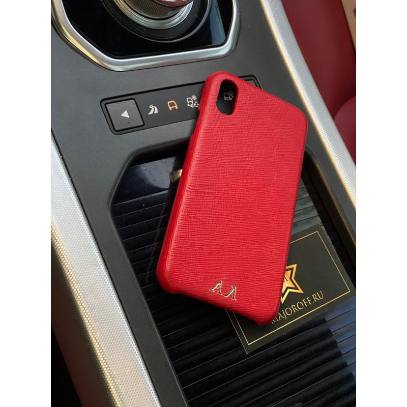 Эксклюзивный красный кожаный чехол с инициалами Mobcase 1367