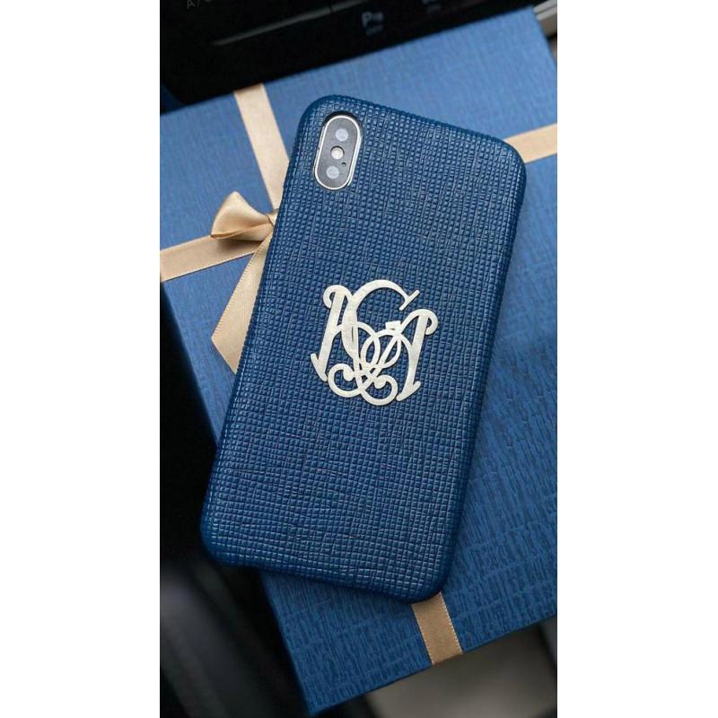Эксклюзивный синий кожаный чехол с монограммой Mobcase 1380