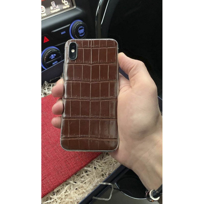 Элитный телефон iPhone XS: Nile Crocodile, Brown, Mobcase 1024