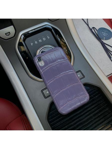 Фиолетовый чехол для телефона из натуральной кожи крокодила, Mobcase 949