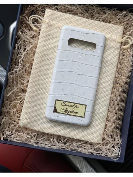 Именной, белый чехол из телячьей кожи для Samsung S10, Mobcase 936