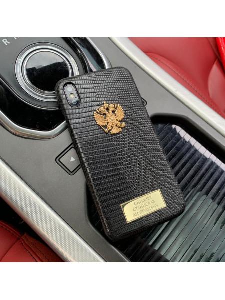 Именной чехол из чёрной кожи игуана с позолоченным гербом России, Mobcase 886 для iPhone XS MAX