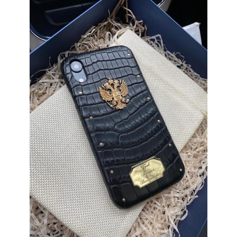 Именной чехол из чёрной кожи крокодила с гербом России, Mobcase 1090