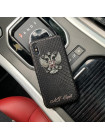 Именной чехол из чёрной кожи питона с гербом России для iPhone XS, Mobcase 932
