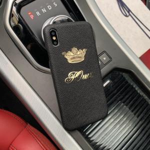 Именной чехол из чёрной, телячьей кожи с большой короной для iPhone XS MAX, Mobcase 933