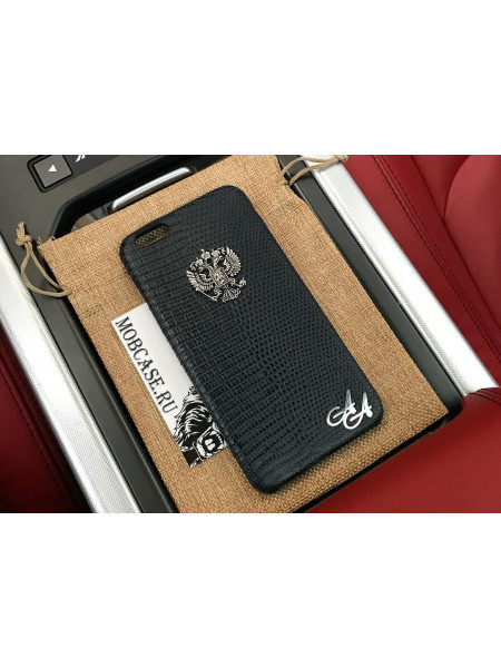 Именной чехол из кожи игуана с серебряным гербом России Mobcase 802 для iPhone