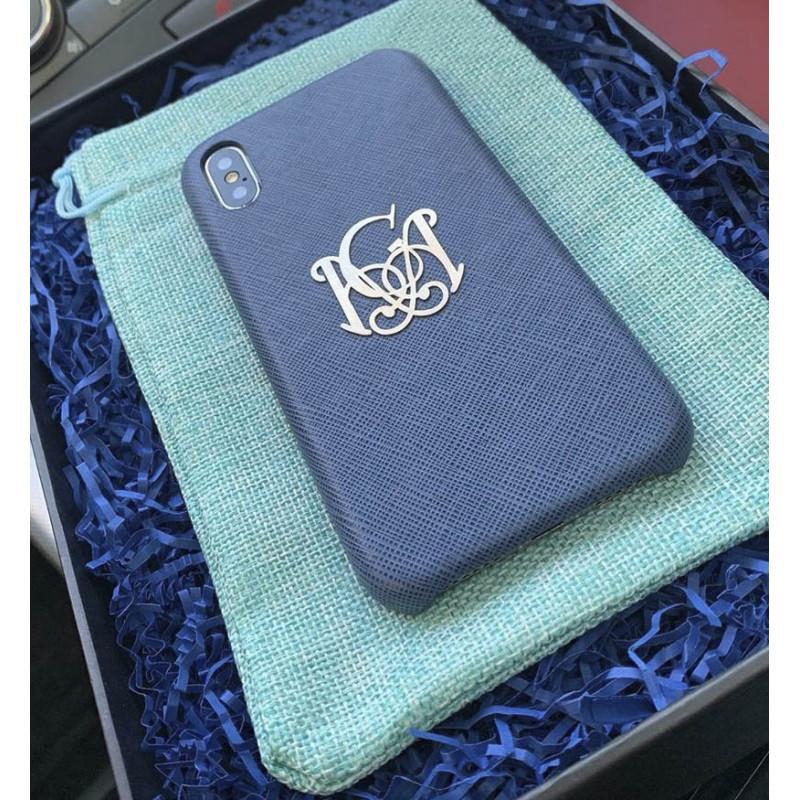 Именной чехол из синей кожи с серебряной монограммой Mobcase 875 для iPhone