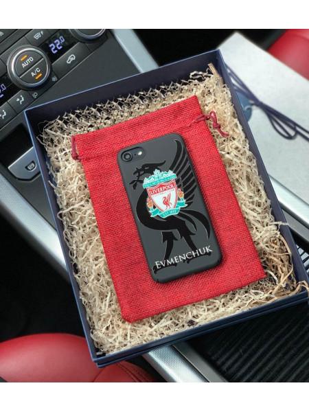 Именной чехол на чёрной основе с логотипом LiverPool, Mobcase 942 для iPhone 8