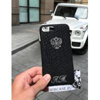Именной чехол с гербом России из чёрной кожи акулы, Mobcase 722 для iPhone 7, 8, 7 Plus, 8 Plus, X, XS, XSMAX, XR