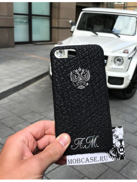 Именной чехол с гербом России из чёрной кожи акулы, Mobcase 722 для iPhone