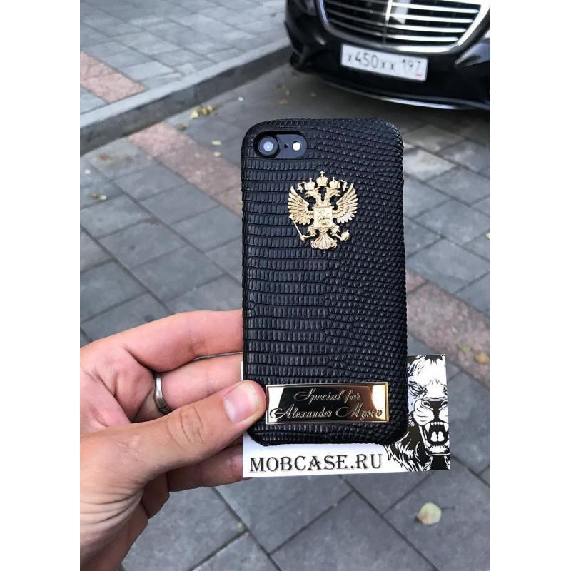 Именной чехол с гербом России из чёрной кожи Игуана, Mobcase 723 для iPhone