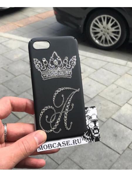 Именной чехол с короной из кристаллов, страз Swarovski, Mobcase 729 для iPhone