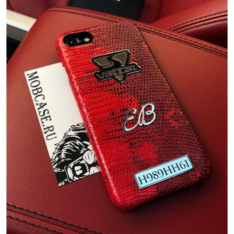 Именной чехол с логотипом из красной кожи игуана Mobcase 753 для iPhone