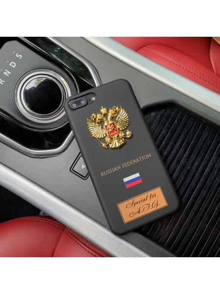 Именной чехол с металлическим гербом России для iPhone 8 Plus, Mobcase 926