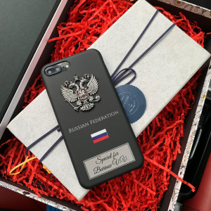 Именной чехол с принтом и металлическим гербом России, Mobcase 717 для iPhone 7, 8, 7 Plus, 8 Plus, X, XS, XSMAX, XR