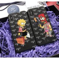 Именной чехол с принтом Лизы и Барт, логотипом Gucci Mobcase 670 для iPhone 7, 8, 7 Plus, 8 Plus, X, XS, XSMAX, XR