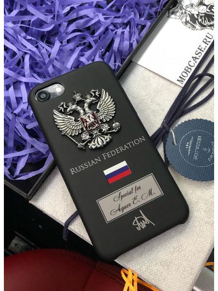 Именной чехол с принтом, металлическим гербом России Mobcase 651 для iPhone