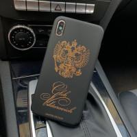 Именной, чёрный чехол с принтом, гербом России Mobcase 617, для iPhone 7/8|7/8Plus|XXS|XSMAX|XR