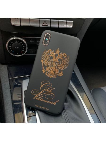 Именной, чёрный чехол с принтом, гербом России Mobcase 617, для iPhone